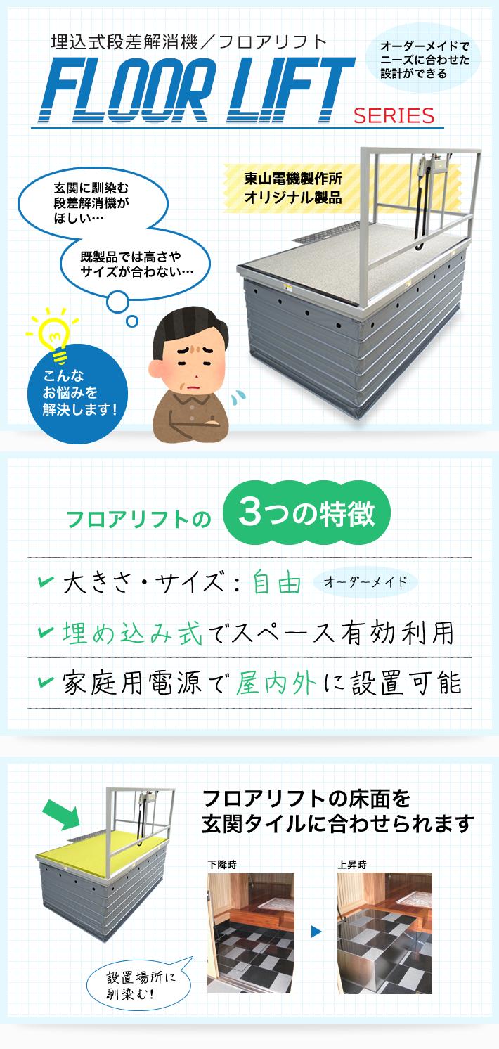 当社オリジナル商品:埋込式段差解消機/フロアリフトシリーズ
